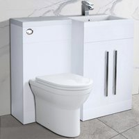Bathroom Right Hand Storage Furniture Combination Vanity Unit Set with Toilet White - NRG