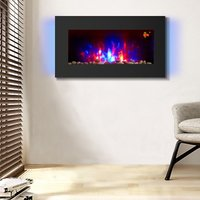 Electric Fire Wall Mounted Flat Glass Electric Fire Multi Colour Flames 1Kw and 2Kw Heater with Timer - NRG