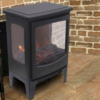 NRG Electric Fireplace Stove Heater with Fire Flame Effect Portable Fireplace Stove 1800W MAX
