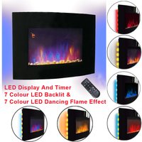 Large Curved Wall Mounted Electric Fire Place Heater Fire Flame Effect Fireplace 2000W MAX - NRG