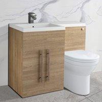 Light Oak Left Hand Bathroom Cabinet Storage Furniture Combination Vanity Unit Set with Toilet - NRG