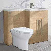 Light Oak Right Hand Bathroom Cabinet Storage Furniture Combination Vanity Unit Set with Toilet - NRG