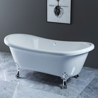 Traditional Curved Freestanding Bathtub with Chrome Claw Feet 1750 x 780mm - NRG
