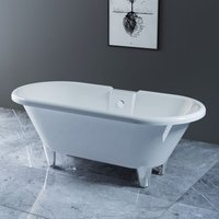NRG Traditional Luxury Freestanding Bath Roll Top Bathtub with Chrome Claw Feet 1750 x 800mm