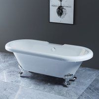 NRG Traditional Luxury Freestanding Bathtub Bathroom Roll Top Bath with Chrome Claw Feet 1700 x 750mm