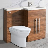 NRG Walnut Bathroom Cabinets Right Hand Storage Furniture Combination Vanity Unit Set with Toilet