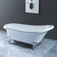 NRG White Traditional Bathroom Luxury Freestanding Slipper Bathtub with Chrome Claw Feet 1700 x 750mm