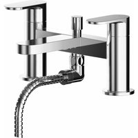 Binsey Pillar Mounted Bath Shower Mixer Tap with Shower Kit - Chrome - Nuie