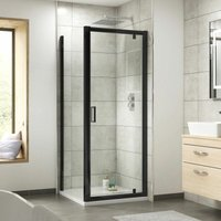 Pacific Pivot Shower Door Enclosure Screen Panel 900mm Safety Glass Black - Nuie
