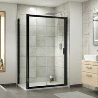 Pacific Sliding Shower Door Enclosure Screen Panel 1200 x 900mm Glass Black - Nuie
