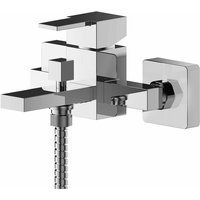 Nuie Sanford Wall Mounted Bath Shower Mixer Tap with Shower Kit - Chrome