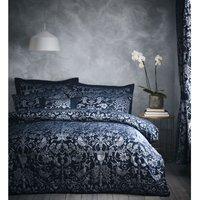 Bedmaker - Oak Tree Jacquard Midnight Blue Super King Size Duvet Cover Set Bedding Bed Set Bed Linen