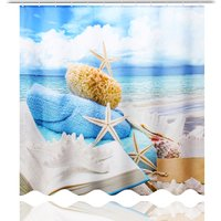 Ocean Decor View Polyester Fabric Shower Curtain with Hooks 180CM