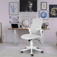 Office Chair Ergonomic Desk Chair Mesh Back Swivel Seat Lumbar Support with Flip up Armrests Creamy-white