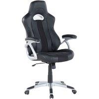 Beliani - Ergonomic Office Chair Black Faux Leather Adjustable Backrest Gaming Style Master