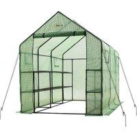 2 Tier 12 Shelf Portable Large Walk In Garden Greenhouse | Outdoor Clear Green Polyethylene Plastic Grow House - Ogrow