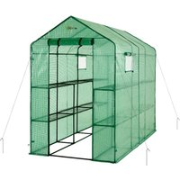 2 Tier 12 Shelf Portable Large Walk In Garden Greenhouse | Outdoor Clear Green Polyethylene Plastic Grow House - Ogrow