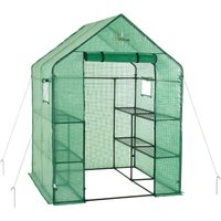 2 Tier 8 Shelf Portable Large Walk In Garden Greenhouse | Outdoor Clear Green Polyethylene Plastic Grow House - Ogrow