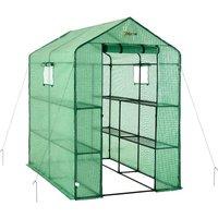 2 Tier 8 Shelf Portable Large Walk In Garden Greenhouse | Outdoor Clear Green Polyethylene Plastic Grow House - Ogrow