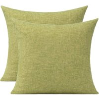 Olive Green Throw Pillow Covers Set of 2 Outdoor Patio Solid Pillows for Sofa Bed Couch 20