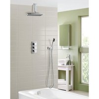 Olive Square 3 Way Concealed Thermostatic Mixer Valve Hand Held Bath Shower Set - NESHOME