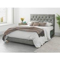 Olivier Ottoman Upholstered Bed, Distressed Velvet, Platinum - Ottoman Bed Size Single (90x190) - ASPIRE