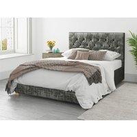 Aspire - Olivier Ottoman Upholstered Bed, Distressed Velvet, Slate - Ottoman Bed Size Single (90x190)