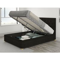 Aspire - Olivier Ottoman Upholstered Bed, Kimiyo Linen, Charcoal - Ottoman Bed Size Superking (180x200)