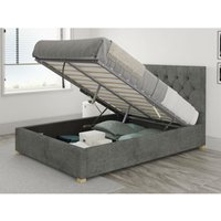 Aspire - Olivier Ottoman Upholstered Bed, Kimiyo Linen, Granite - Ottoman Bed Size Small Double (120x190)