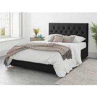 Olivier Ottoman Upholstered Bed, Plush Velvet, Ebony - Ottoman Bed Size Single (to fit mattress size 90x190)