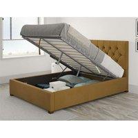 Olivier Ottoman Upholstered Bed, Plush Velvet, Ochre - Ottoman Bed Size King (150x200)