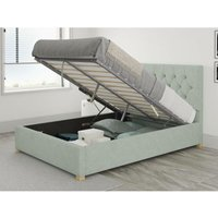 Olivier Ottoman Upholstered Bed, Pure Pastel Cotton, Eau De Nil - Ottoman Bed Size Double (to fit mattress size 135x190)