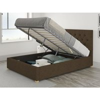 Olivier Ottoman Upholstered Bed, Yorkshire Knit, Chocolate - Ottoman Bed Size Single (to fit mattress size 90x190)