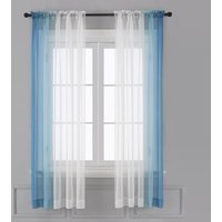 Ombre Sheer Curtains - Faux Linen Gradient Semi Voile Rod Pocket Bedroom and Living Room Curtains, Set of 2 Window Curtain Panels, 52W x
