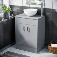 Neshome - Onken 500mm Light Grey Vanity Cabinet And Round Bowl Counter Top Basin Sink Unit
