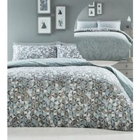 Oracle Abstract Geometric Double Duvet Cover Set Duck Egg - BEDMAKER