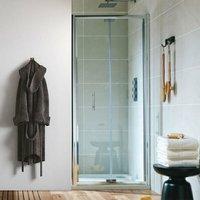A6 Semi-Frameless Bi-Fold Shower Door 800mm Wide - 6mm Glass - Orbit