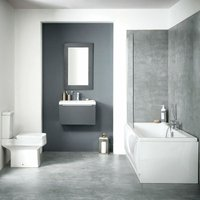 Muro Complete Bathroom Furniture Suite with Double Ended 1700mm x 700mm Bath - Orbit