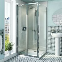 6mm bifold shower enclosure with anti-slip tray 800 x 800 - Orchard