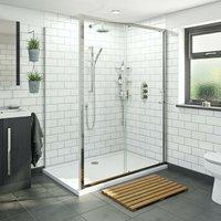 6mm framed sliding shower enclosure 1200 x 800 with Mode Harrison thermostatic triple valve shower set - Orchard