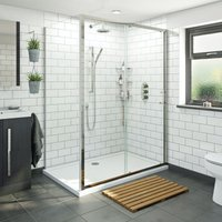 6mm framed sliding shower enclosure 1400 x 900 with Mode Harrison thermostatic triple valve shower set - Orchard