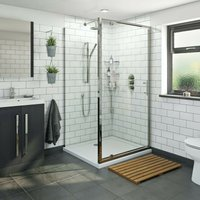 Orchard 6mm pivot hinged rectangular shower enclosure with stone tray 1000 x 800