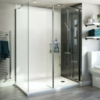 Orchard 6mm walk in shower enclosure pack with walk in shower tray 1400 x 900