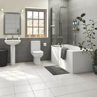 Balance bathroom suite with left handed P shaped shower bath 1675 x 850 - Orchard