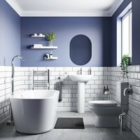 Balance complete freestanding bath suite with taps and wastes 1565 x 740 - Orchard