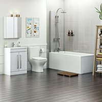 Derwent complete bathroom suite with straight shower bath, shower and taps 1700 x 750 - Orchard