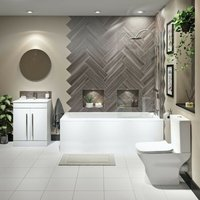 Derwent complete bathroom suite with straight shower bath, wooden panel pack, shower and taps 1700 x 700 - Orchard