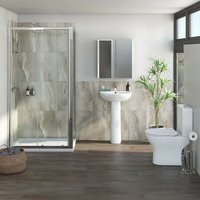 Derwent complete suite with rectangular enclosure, tray, shower and taps 1100 x 700 - Orchard