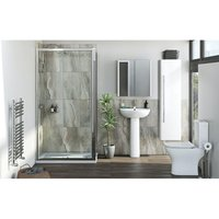 Derwent complete suite with rectangular enclosure, tray, shower and taps 1200 x 800 - Orchard