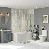 Derwent square straight shower bath suite 1700 x 700 - Orchard